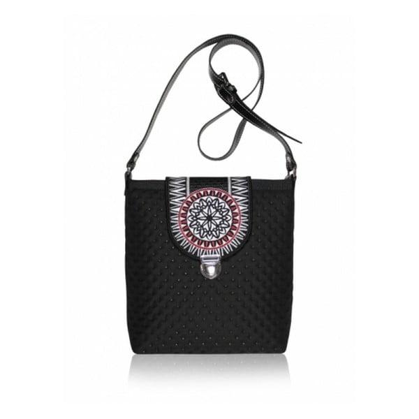 Prošívaná kabelka Astru s koženým popruhem, černá