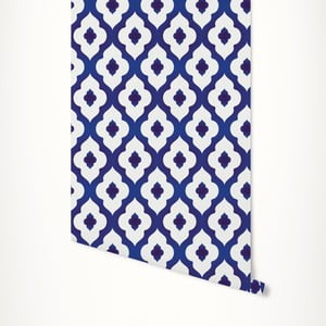 Modro-bílá samolepicí tapeta LineArtistica Janet, 60 x 300 cm