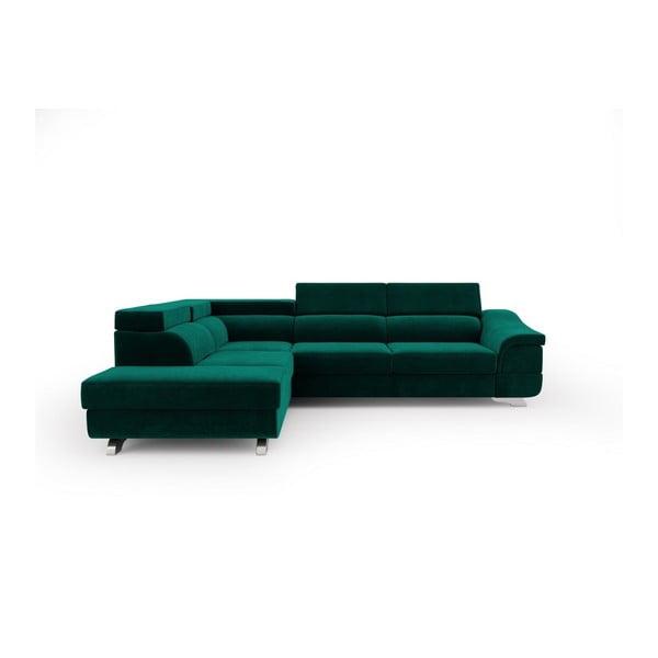 Tmavozelená rozkladacia rohová pohovka so zamatovým poťahom Windsor & Co Sofas Apollon, ľavý roh