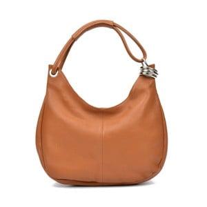 Koňakově hnědá kožená kabelka Carla Ferreri Mona