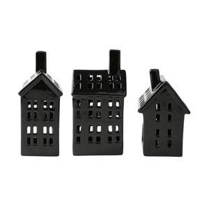 Sada 3 keramických dekoračních domků KJ Collection, výška 18,5 cm