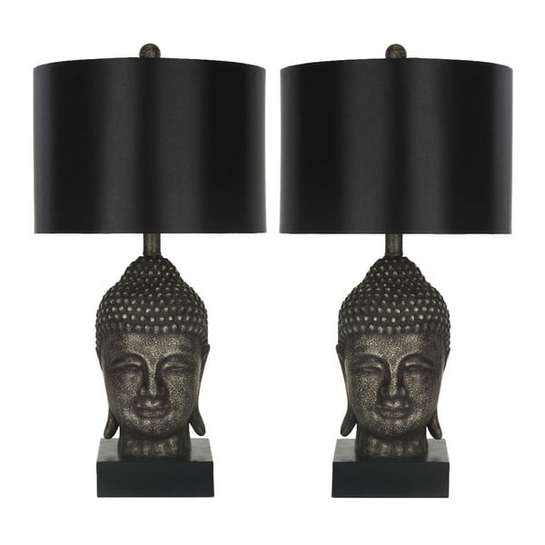 Sada 2 černých stolních lamp Safavieh Shaw