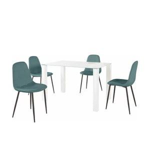 Sada jídelního stolu a 4 tyrkysových židlí Støraa Dante, délka stolu 120cm