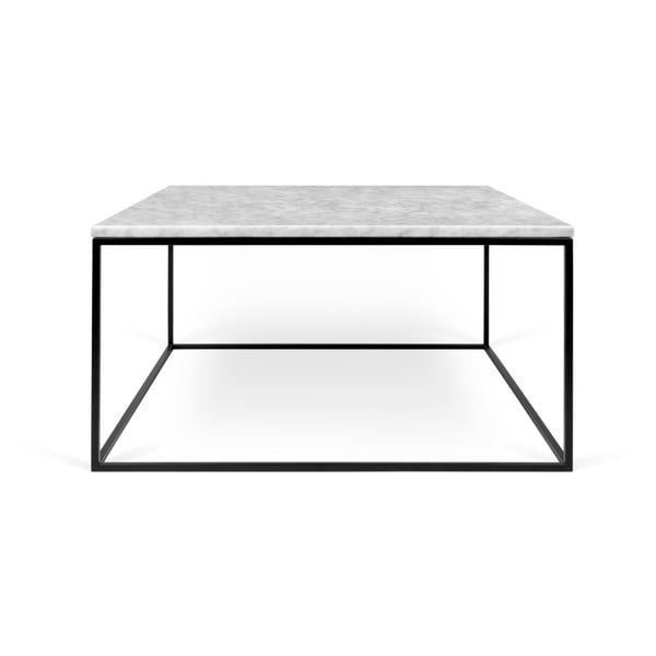 Bílý mramorový konferenční stolek s černými nohami TemaHome Gleam, 75 x 75 cm