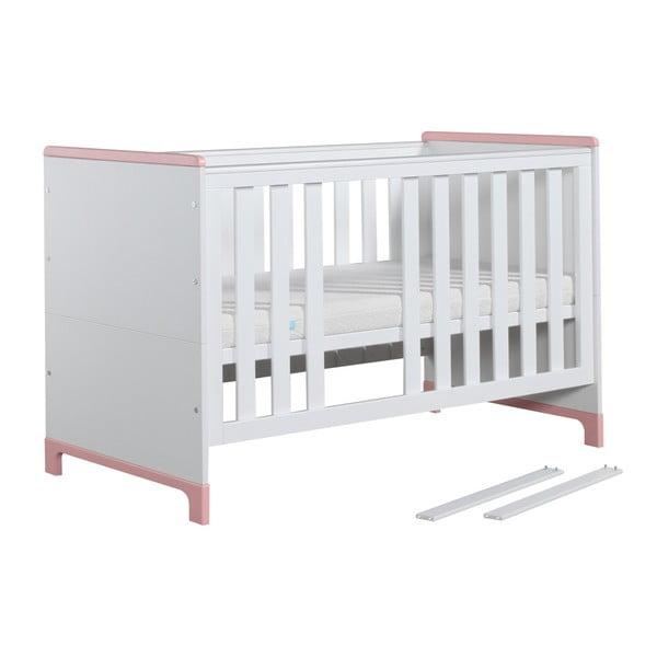 Mini fehér-rózsaszín variálható kiságy, 140 x 70 cm - Pinio