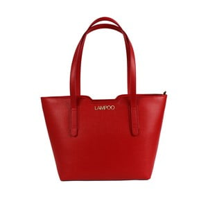 Červená kožená kabelka Lampoo Kappa