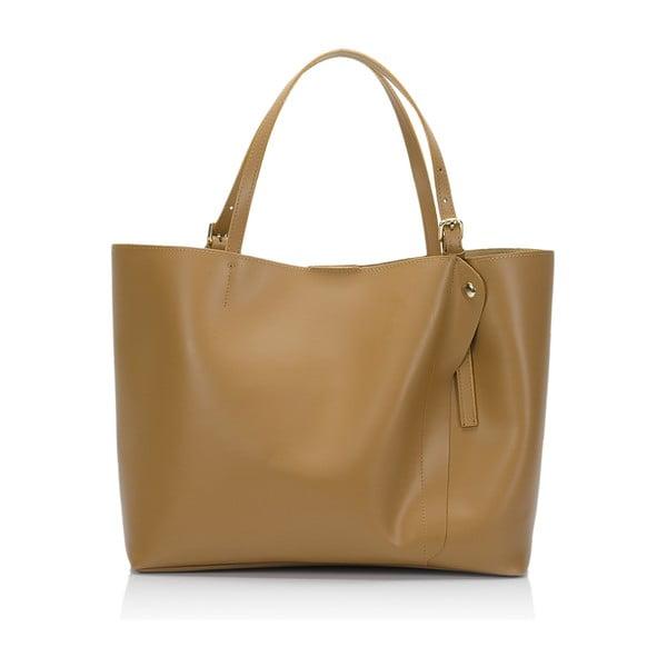 Koňakově hnědá kožená kabelka Lisa Minardi Eunice