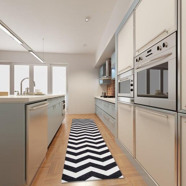 Vysoce odolný kuchyňský běhoun Webtappeti Optical Black White,80x130cm