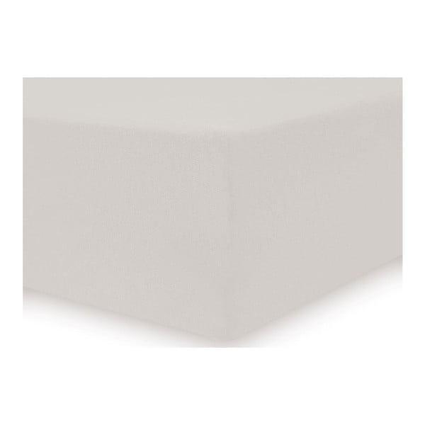 Krémové elastické bavlněné prostěradlo DecoKing Amber Collection, 120-140 x 200 cm