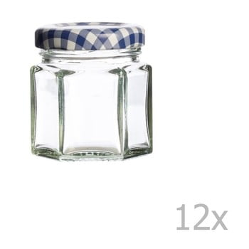 Set 12 borcane cu capac albastru Kilner Hexagonal, 48 ml imagine