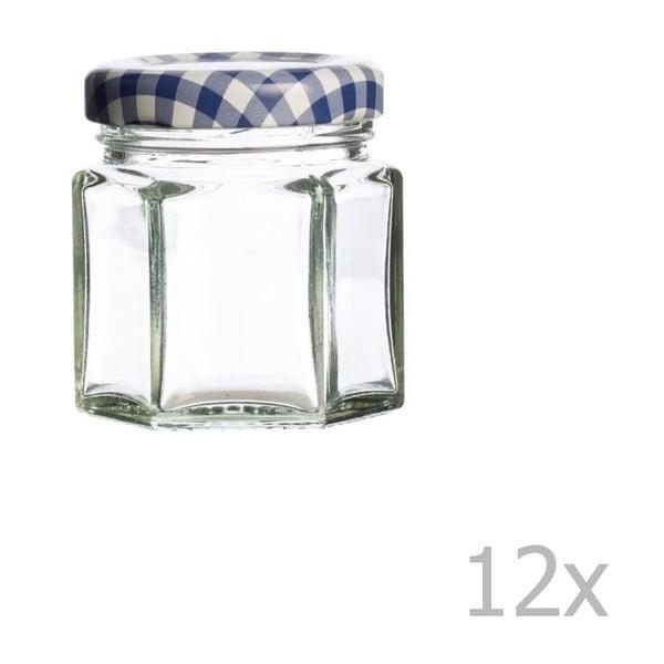 Hexagonal 12 db befőttesüveg kék fedéllel, 48 ml - Kilner
