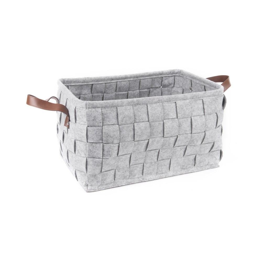 Světle šedý úložný košík s koženými úchyty PT LIVING Storage, délka 40 cm