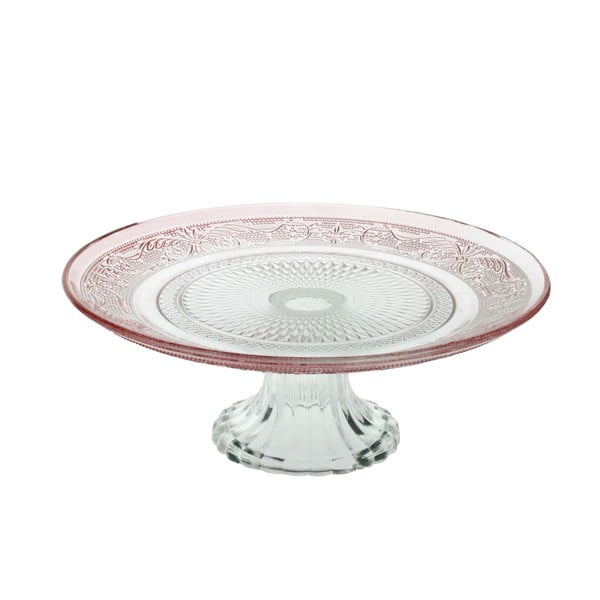 Skleněný stojan na dorty Klasik 25 cm, červený