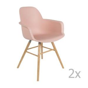 Set 2 scaune cu cotieră Zuiver Albert Kuip, roz