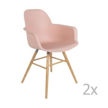 Set 2 scaune cu cotiere Zuiver Albert Kuip, roz de la Zuiver