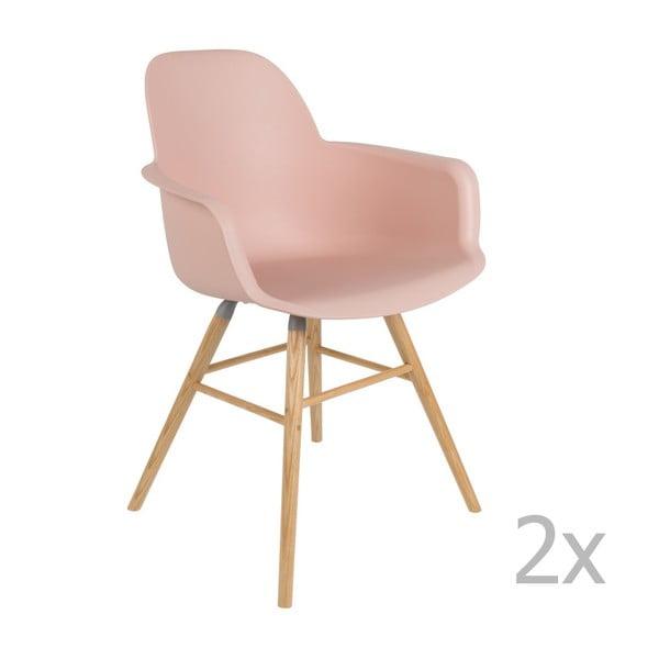 Sada 2 růžových židlí s opěrkami Zuiver Albert Kuip