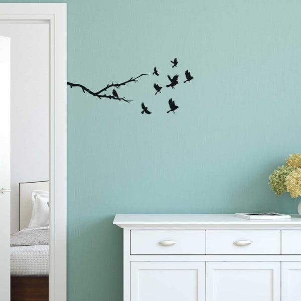 Dekorativní samolepka na zeď ve tvaru větve a ptáčků, 50 x 22 cm