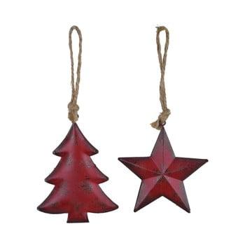 Set 2 decorațiuni suspendate pentru bradul de Crăciun Ego Dekor Misto Trees, roșu imagine