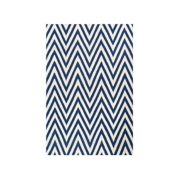 Vlněný koberec Zig Zag Dark Blue, 180x120 cm