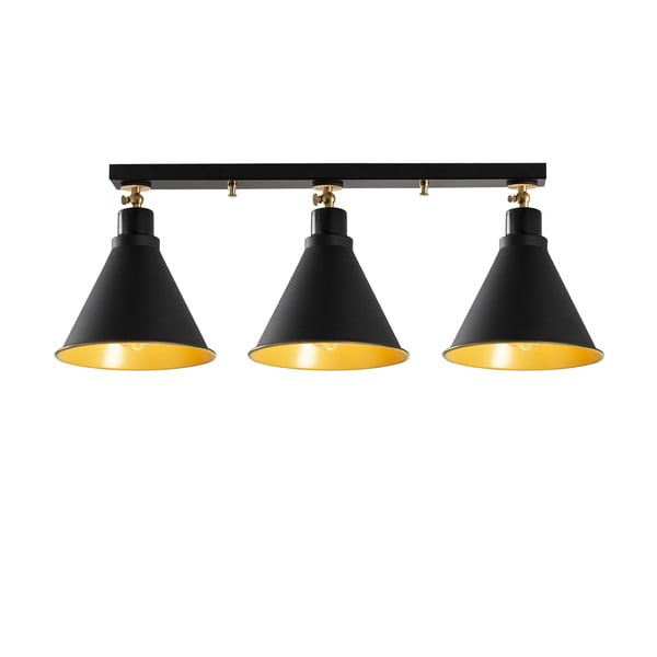 Čierne stropné svietidlo pre 3 žiarovky Opviq lights Berceste Shore