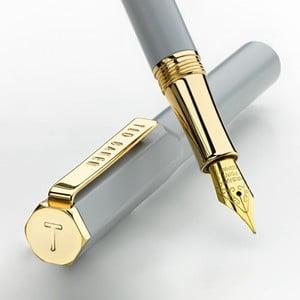 Světle šedé bombičkové pero se zlatými detaily Ted Baker Fountain