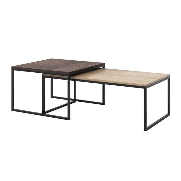 Sada 2 konferenčních stolků s deskami z dubového dřeva s černým podnožím MESONICA Eco