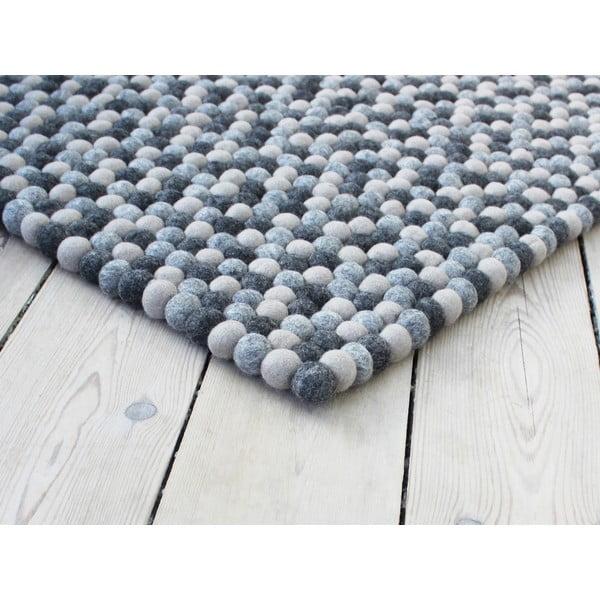 Covor cu bile din lână Wooldot Ball Rugs, 100 x 150 cm, gri închis