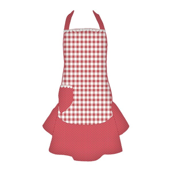 Kuchyňská zástěra Basic Hearts, červená