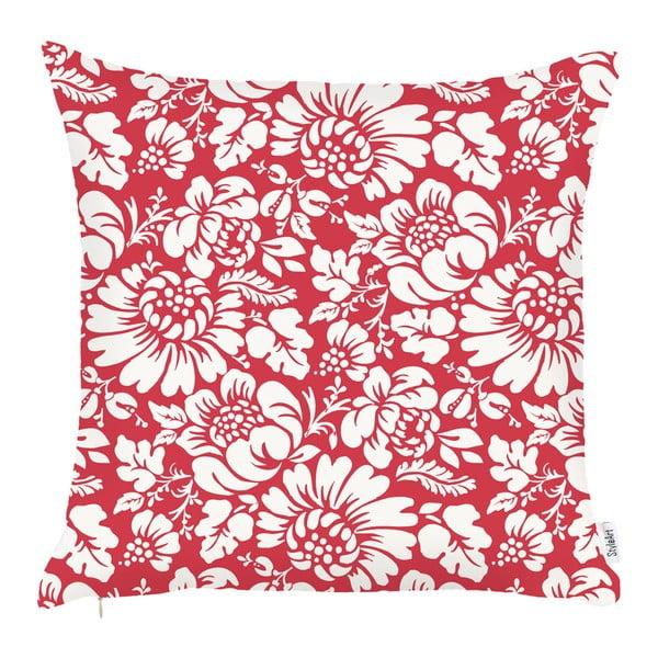 Červený povlak na polštář Apolena Flowers, 43x43cm