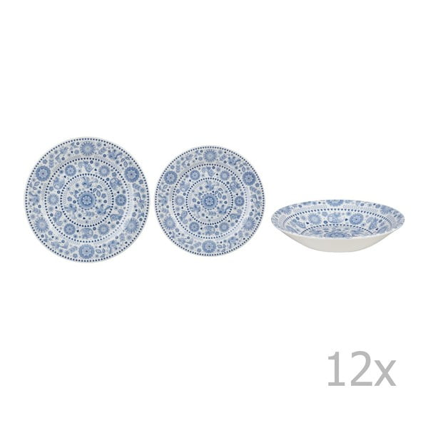 Set veselă din ceramică Churchill China Blue Forest, 12 piese
