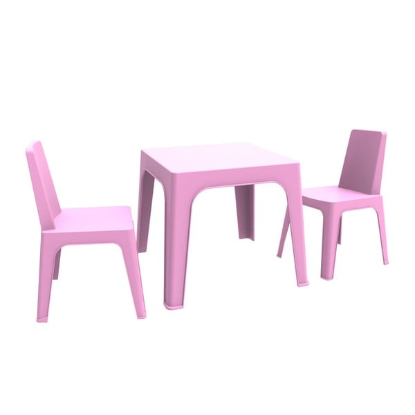 Julieta rózsaszín gyerek kerti bútor garnitúra, 1 asztal és 2 szék - Resol