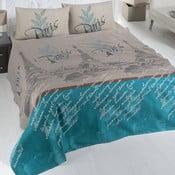Cuvertură subțire pentru pat Paris, 200x230cm, maro-albastru