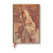 Notes Alfons Mucha Winter Child, čistý papír