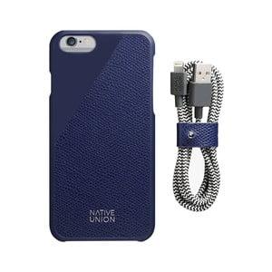 Set tmavě modrého obalu z pravé kůže a nabíjecího kabelu pro iPhone 6 a 6S Plus Native Union Clic Leather Belt