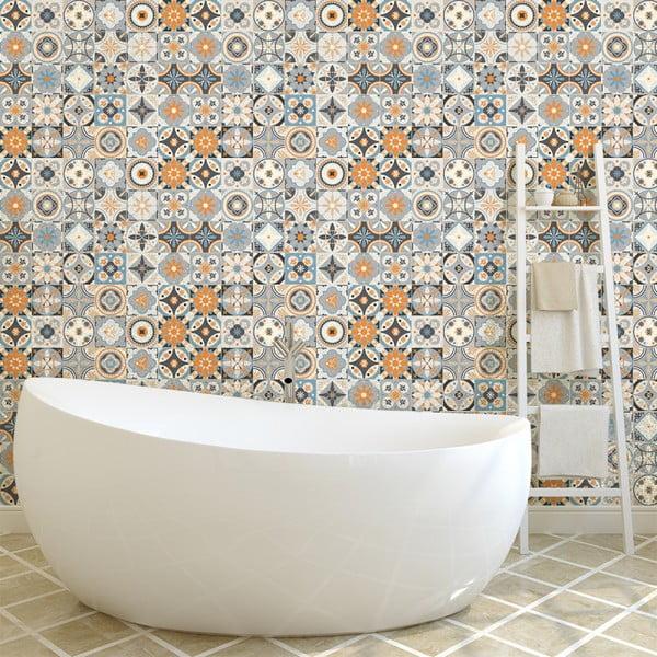 Sada 60 nástěnných samolepek Ambiance Wall Decal Cement Tiles Azulejos Vincinda, 10 x 10 cm