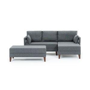 Canapea extensibilă Balcab Home Emma, șezlong pe partea dreaptă, gri