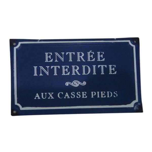 Modrá plechová ceduľa Antic Line Entreé Interdite
