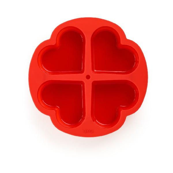 Červená silikonová dělící forma na dort ve tvaru srdce Lékué, ⌀ 25 cm