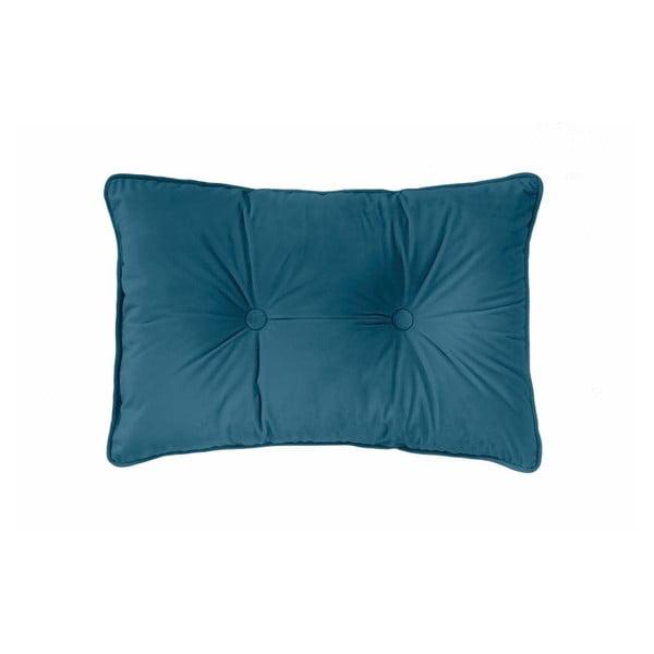 Ciemnoniebieska poduszka Tiseco Home Studio Velvet Button, 40x60 cm
