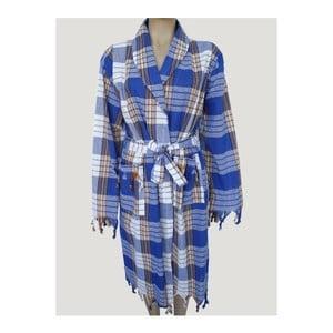 Modrý župan z čisté bavlny Hammam Traditional Style