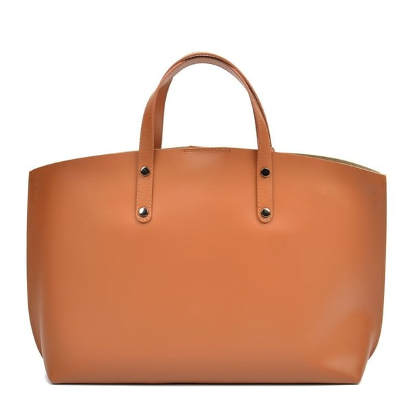 Koňakově hnědá kožená kabelka Luisa Vannini Teresa