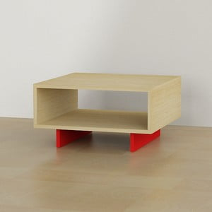 Kávový stolek Hola Coffee, dub/červená