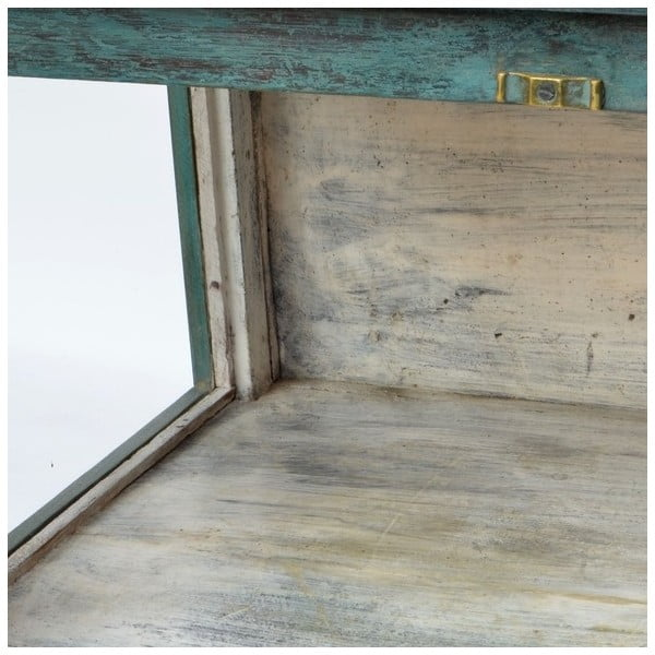 Prosklená skříňka Goa 64x77 cm, tyrkysová patina
