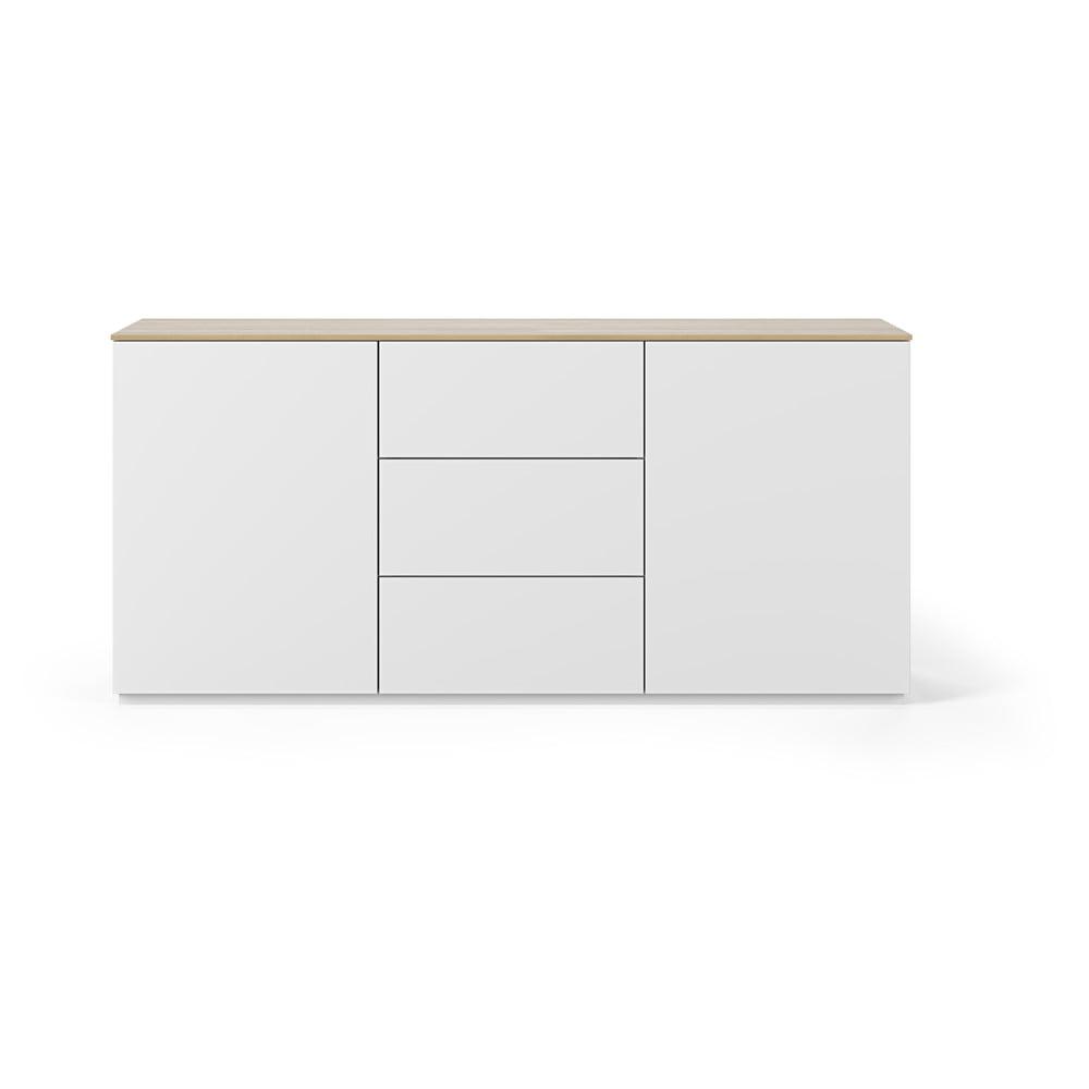 Bílá komoda s deskou v dekoru dubového dřeva se 3 šuplíky a 2 dveřmi TemaHome Join