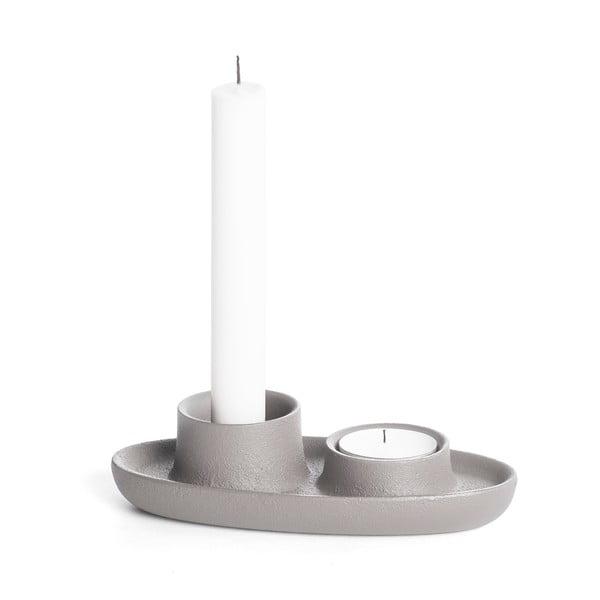 Světle šedý svícen EMKO Aye Aye Two Candles