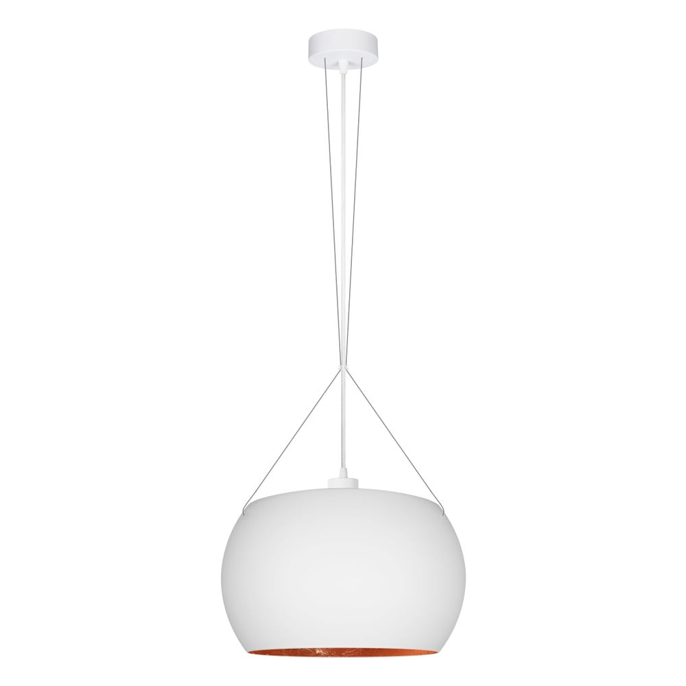 Bíloměděné závěsné svítidlo s bílým kabelem Sotto Luce Momo