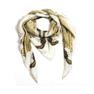 Vlněný šátek s kašmírem Guns White, 130x130 cm