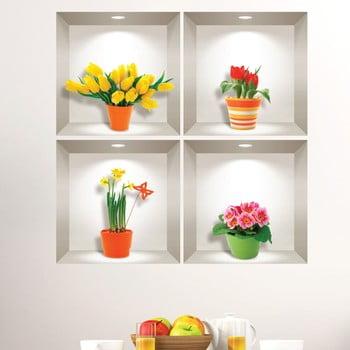 Set 4 autocolante 3D pentru perete Ambiance Prairie Flowers