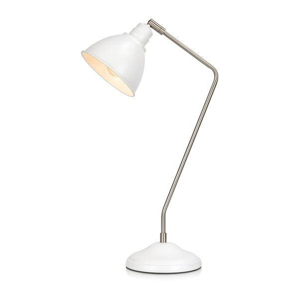 Biela stolová lampa s detailmi v striebornej farbe Markslöjd Coast