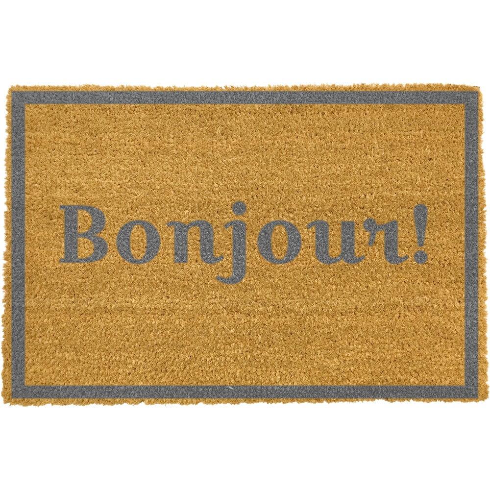 Rohožka z přírodního kokosového vlákna Artsy Doormats Bonjour Grey,40x60cm